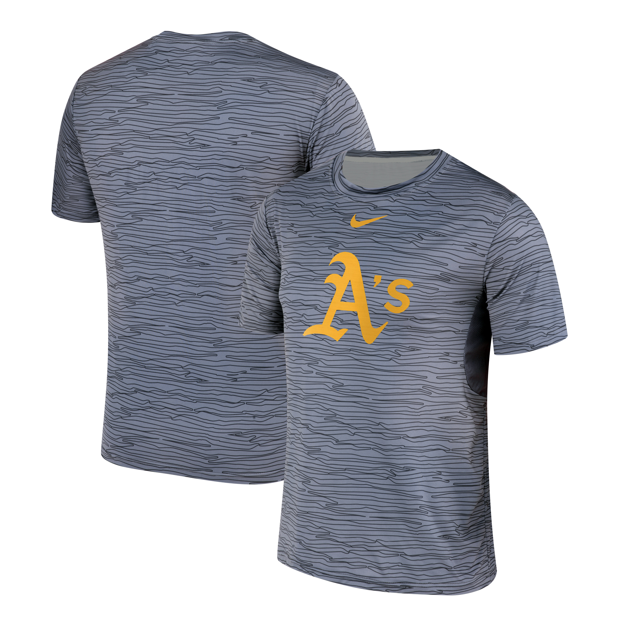 Nike Oakland Athletics Gray Black Striped Logo Performance T-Shirt