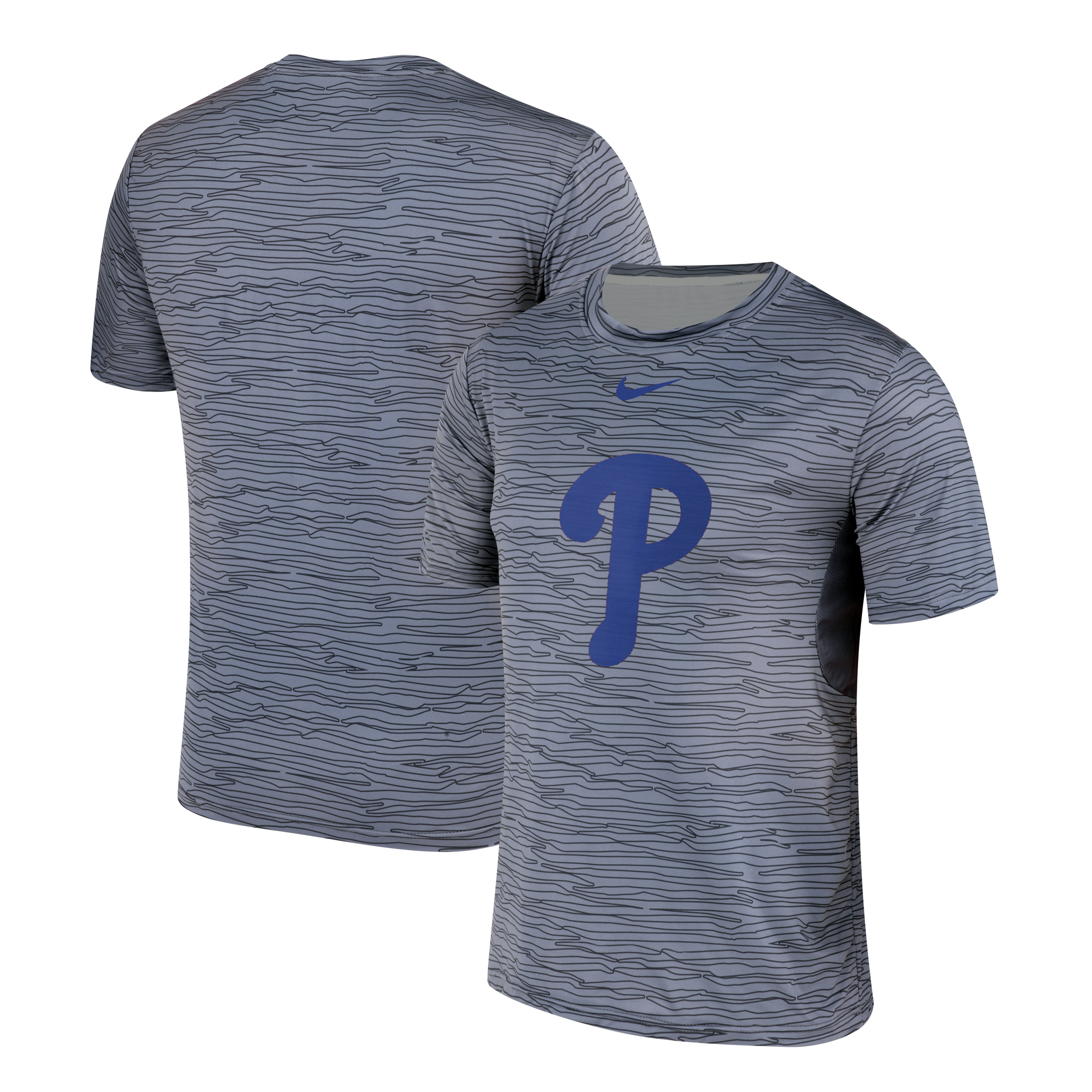 Nike Philadelphia Phillies Gray Black Striped Logo Performance T-Shirt