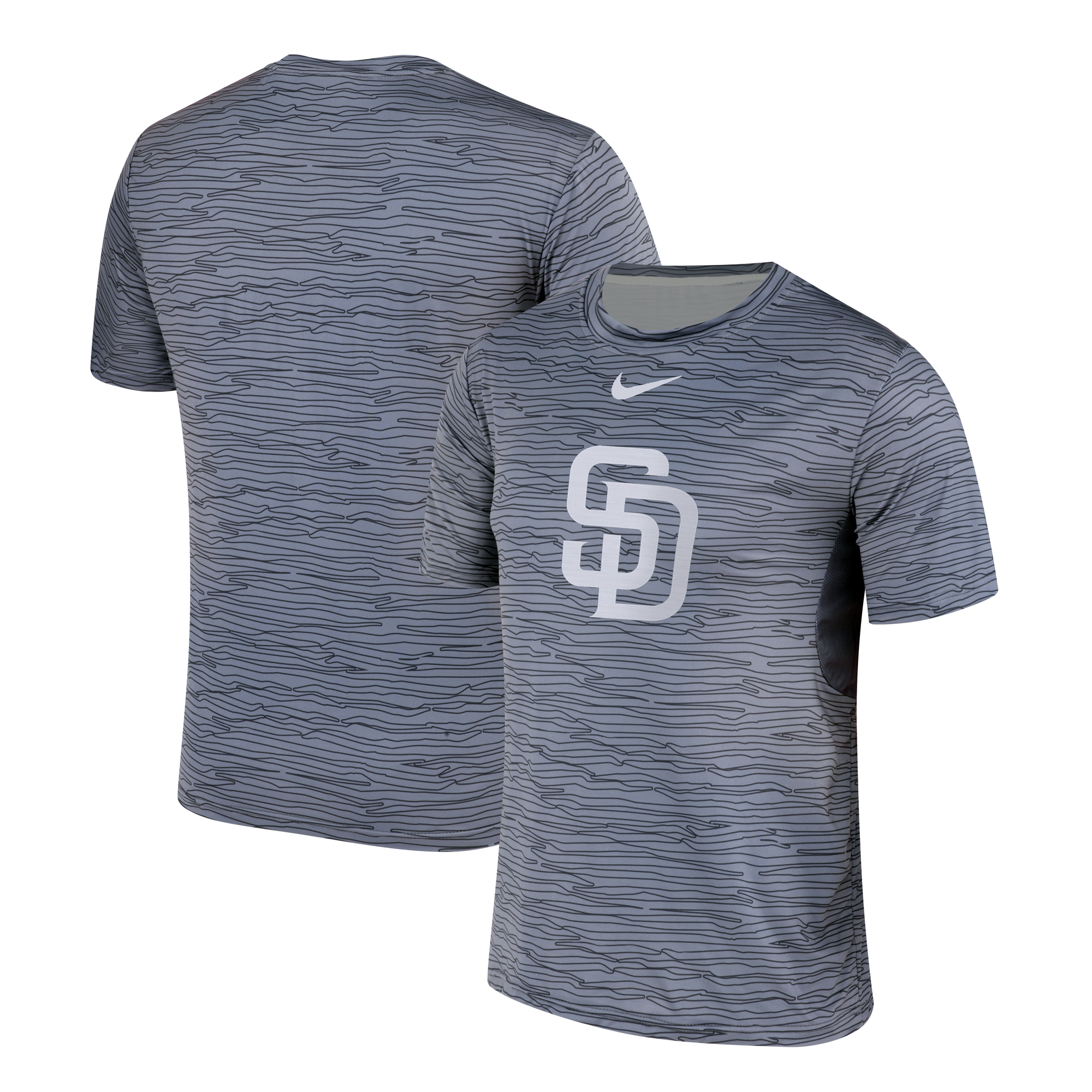 Nike San Diego Padres Gray Black Striped Logo Performance T-Shirt