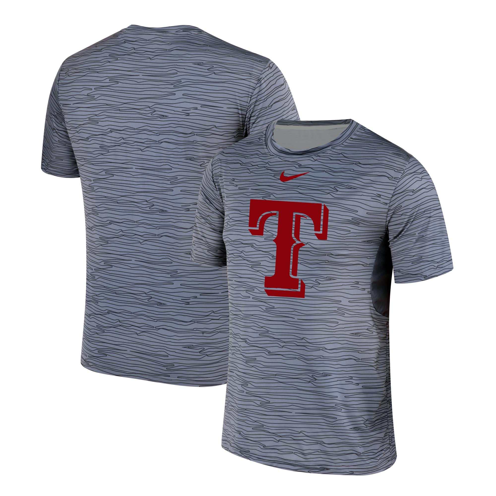 Nike Texas Rangers Gray Black Striped Logo Performance T-Shirt