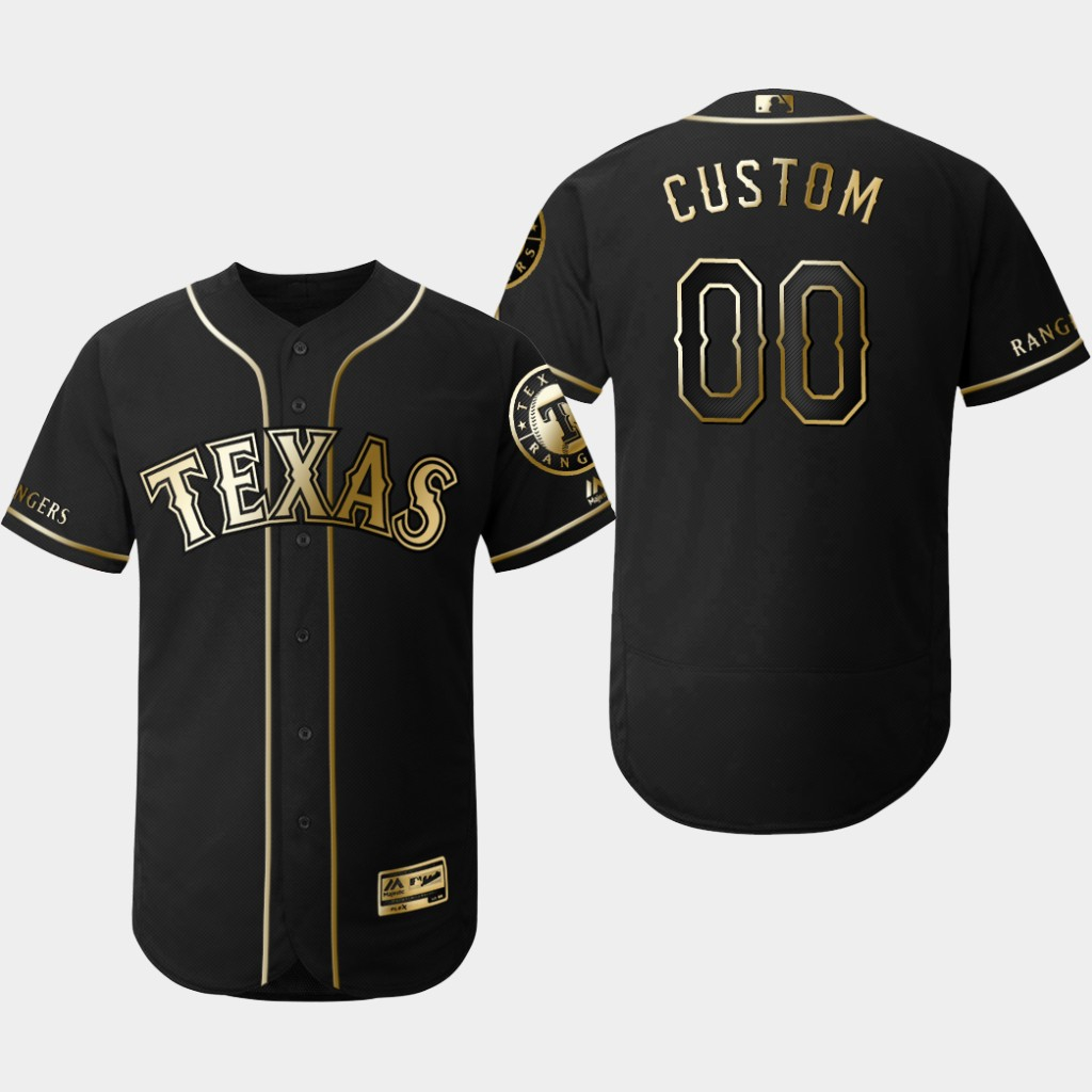 Rangers Customized Black Gold Flexbase Jersey