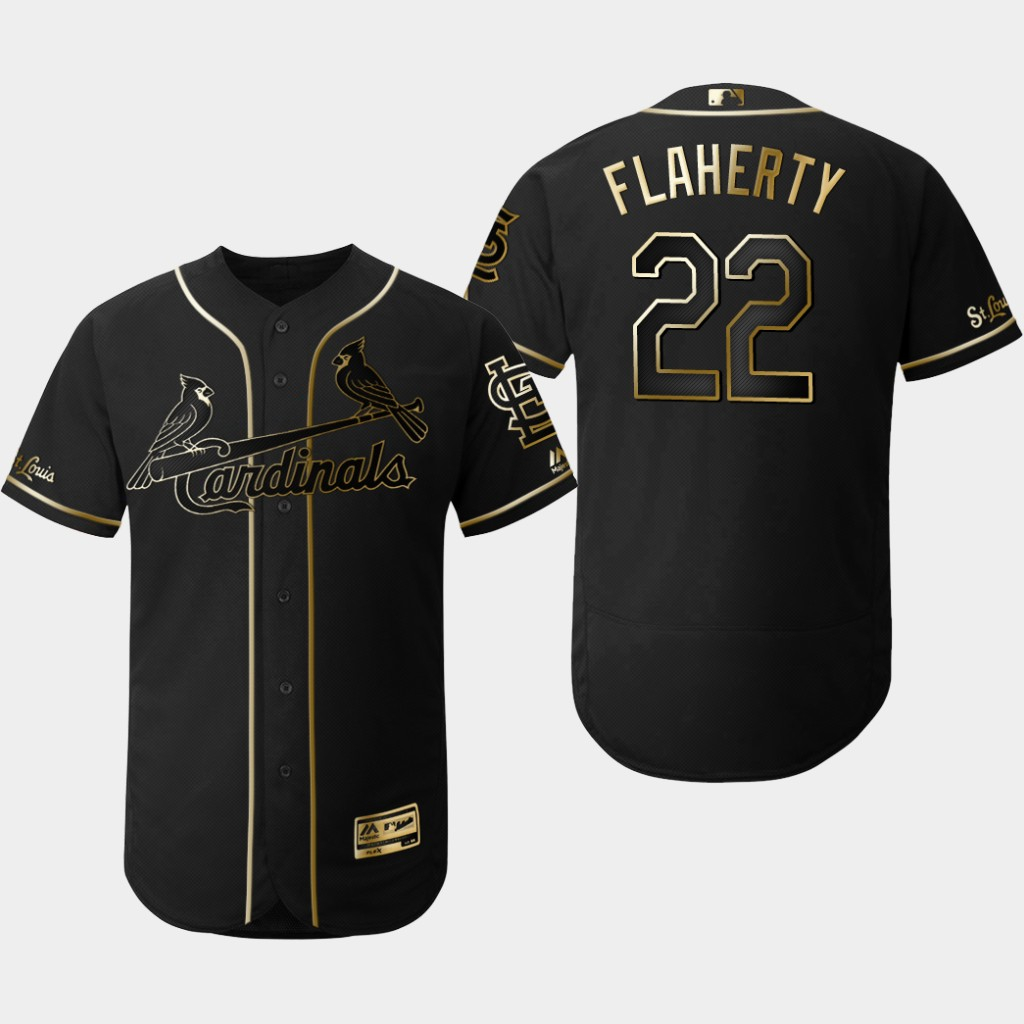 Cardinals 22 Jack Flaherty Black Gold Flexbase Jersey