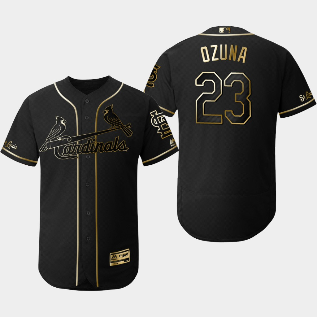 Cardinals 23 Marcell Ozuna Black Gold Flexbase Jersey
