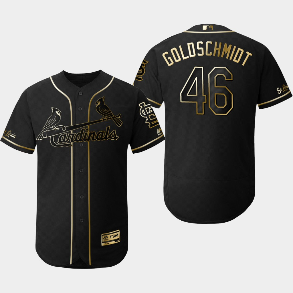 Cardinals 46 Paul Goldschmidt Black Gold Flexbase Jersey