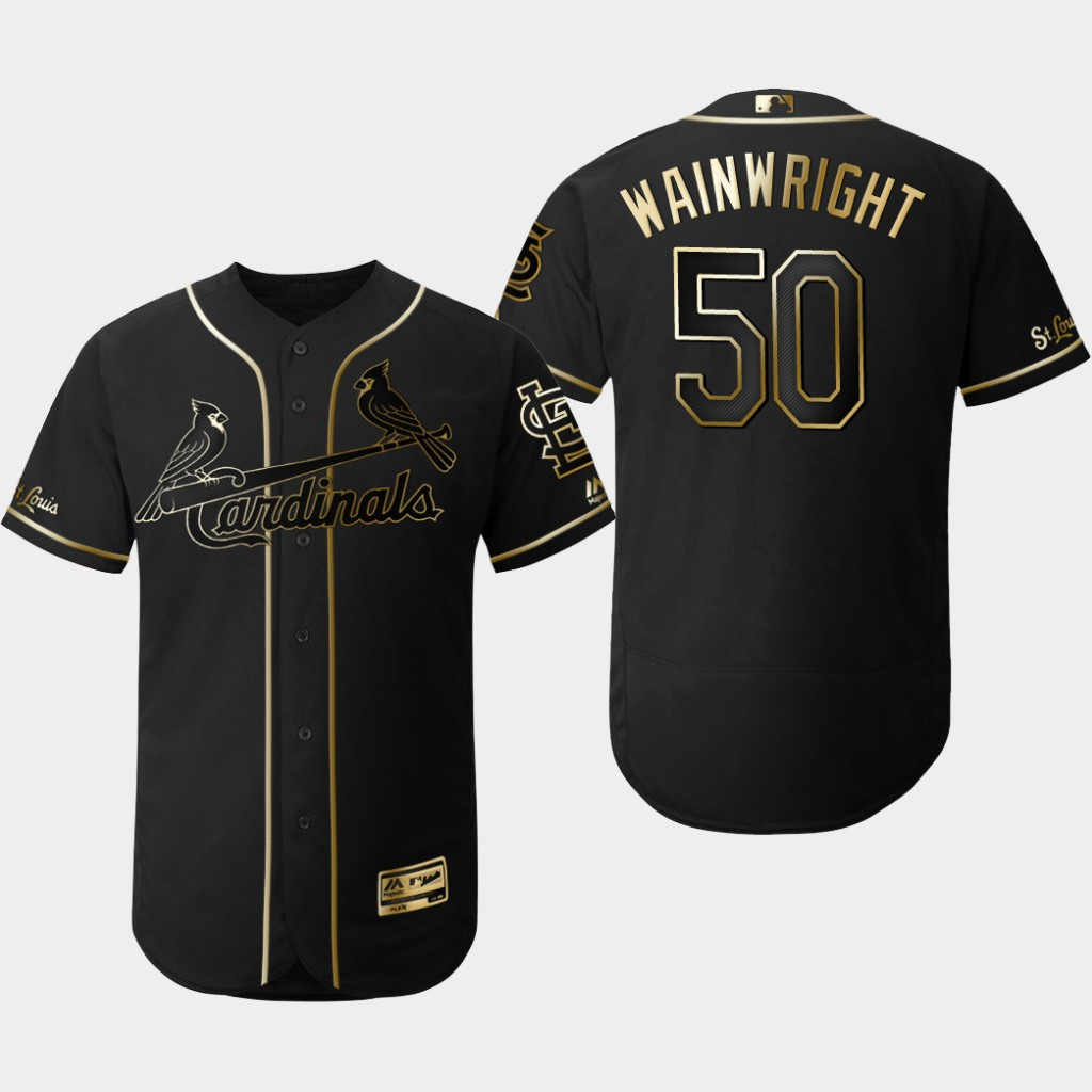 Cardinals 50 Adam Wainwright Black Gold Flexbase Jersey