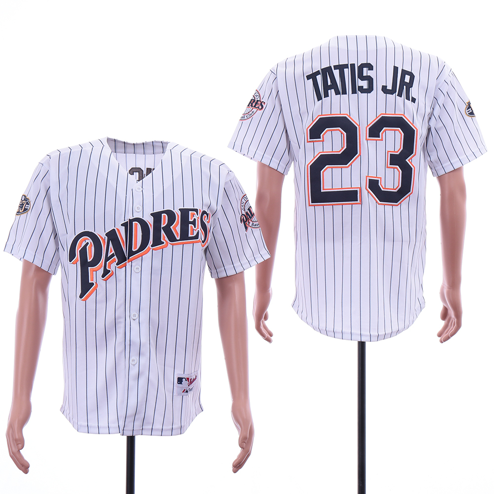 Padres 23 Fernando Tatis Jr. White 50th Anniversary Patch Turn Back The Clock Jersey