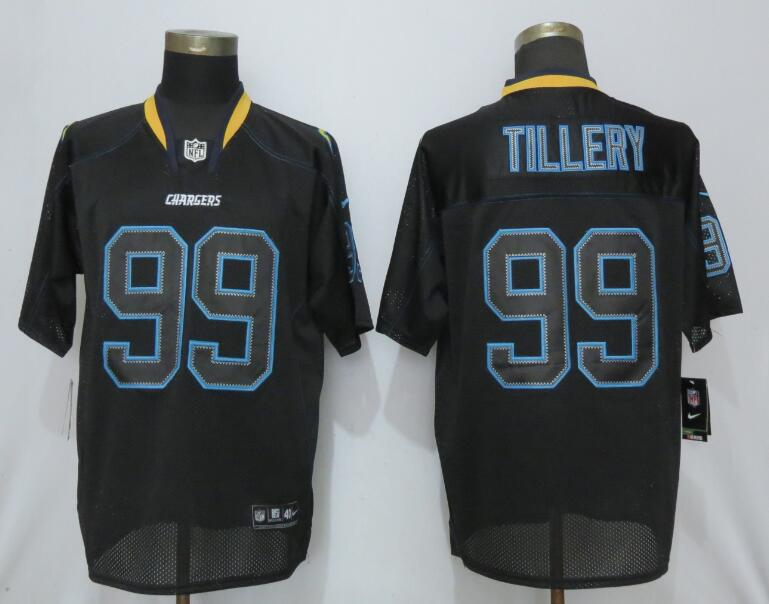 Nike Chargers 99 Jerry Tillery Black Lights Out Elite Jersey