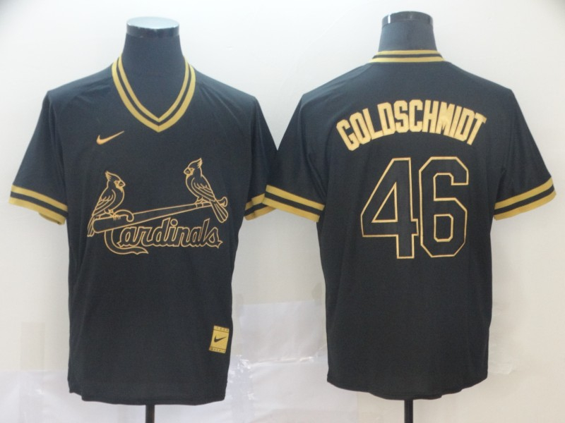 Cardinals 46 Paul Goldschmidt Black Gold Nike Cooperstown Collection Legend V Neck Jersey