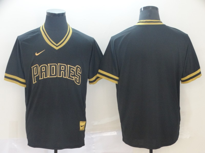 Padres Blank Black Gold Nike Cooperstown Collection Legend V Neck Jersey