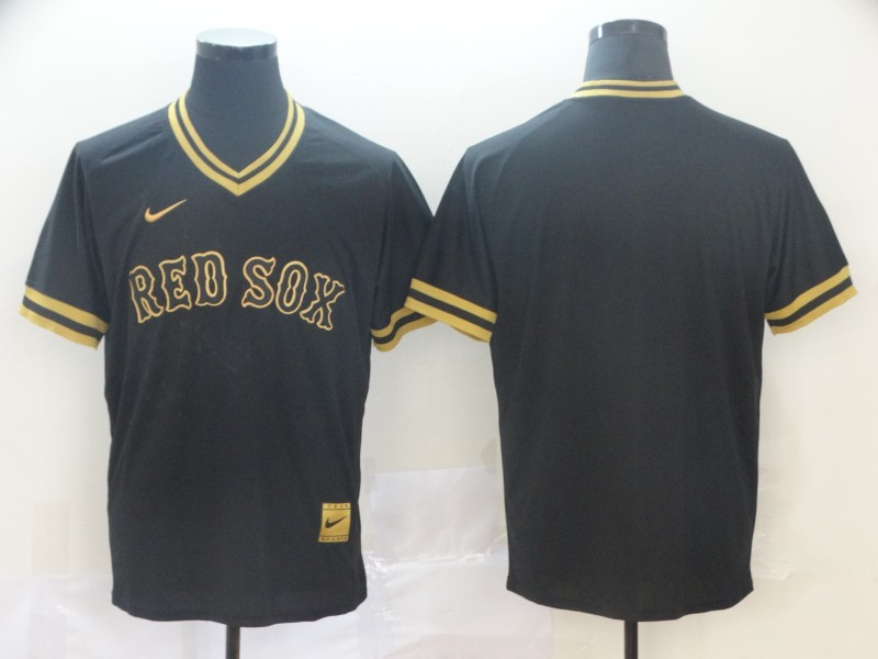Red Sox Blank Black Gold Nike Cooperstown Collection Legend V Neck Jersey