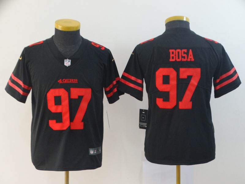 Nike 49ers 97 Nick Bosa Black Youth 2019 NFL Draft First Round Pick Vapor Untouchable Limited Jersey