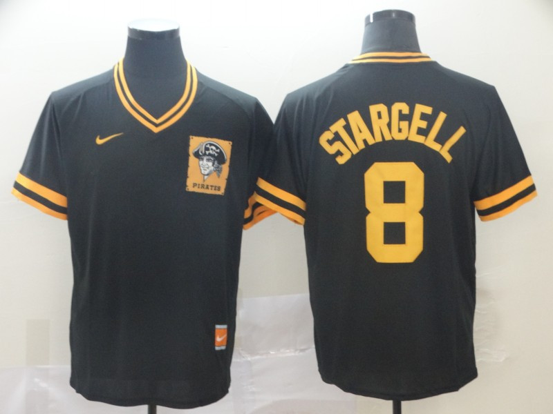 Pirates 8 Willie Stargell Black Throwback Jersey