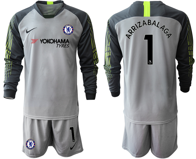 2018-19 Chelsea 1 ARRIZABALAGA Gray Long Sleeve Goalkeeper Soccer Jersey