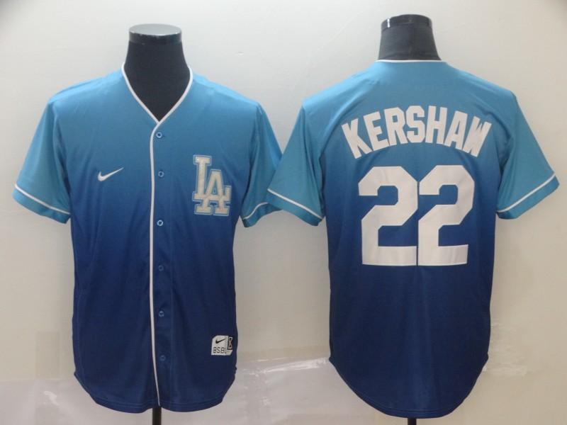 Dodgers 22 Clayton Kershaw Blue Drift Fashion Jersey