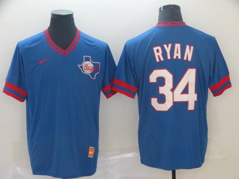 Rangers 34 Nolan Ryan Royal Throwback Jersey