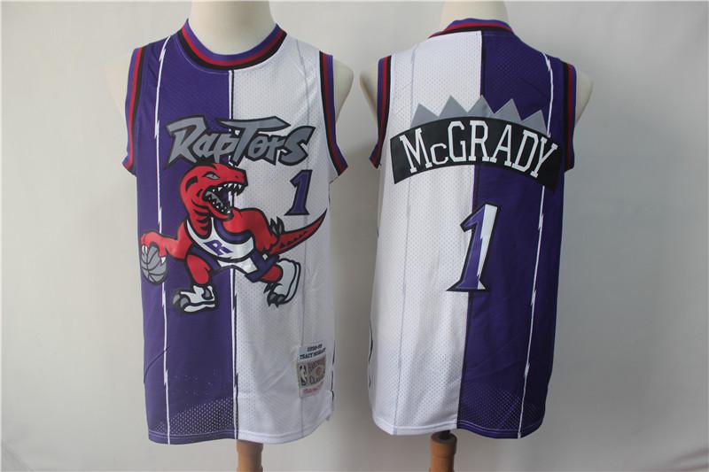 Raptors 1 Tracy McGrady Purple White Split 1998-99 Hardwood Classics Jersey