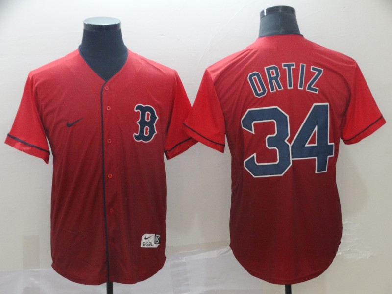 Red Sox 34 David Ortiz Red Drift Fashion Jersey