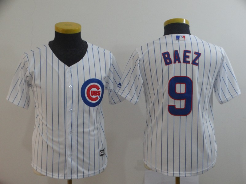 Cubs 9 Javier Baez White Youth Cool Base Jersey
