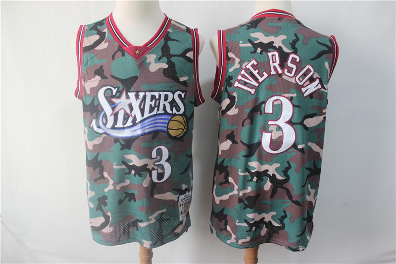 76ers 3 Allen Iverson Camo 1996-97 Hardwood Classics Jersey