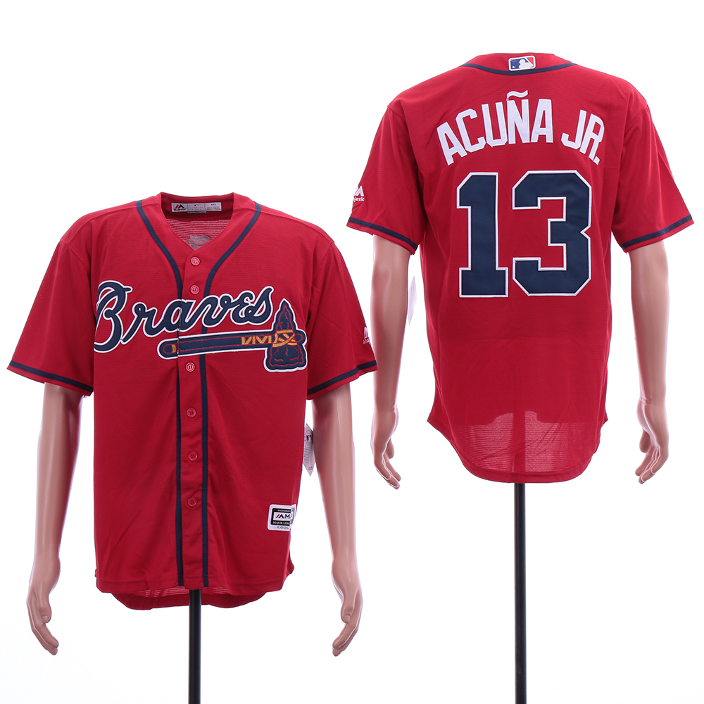 Braves 13 Ronald Acuna Jr. Scarlet 2019 Cool Base Jersey