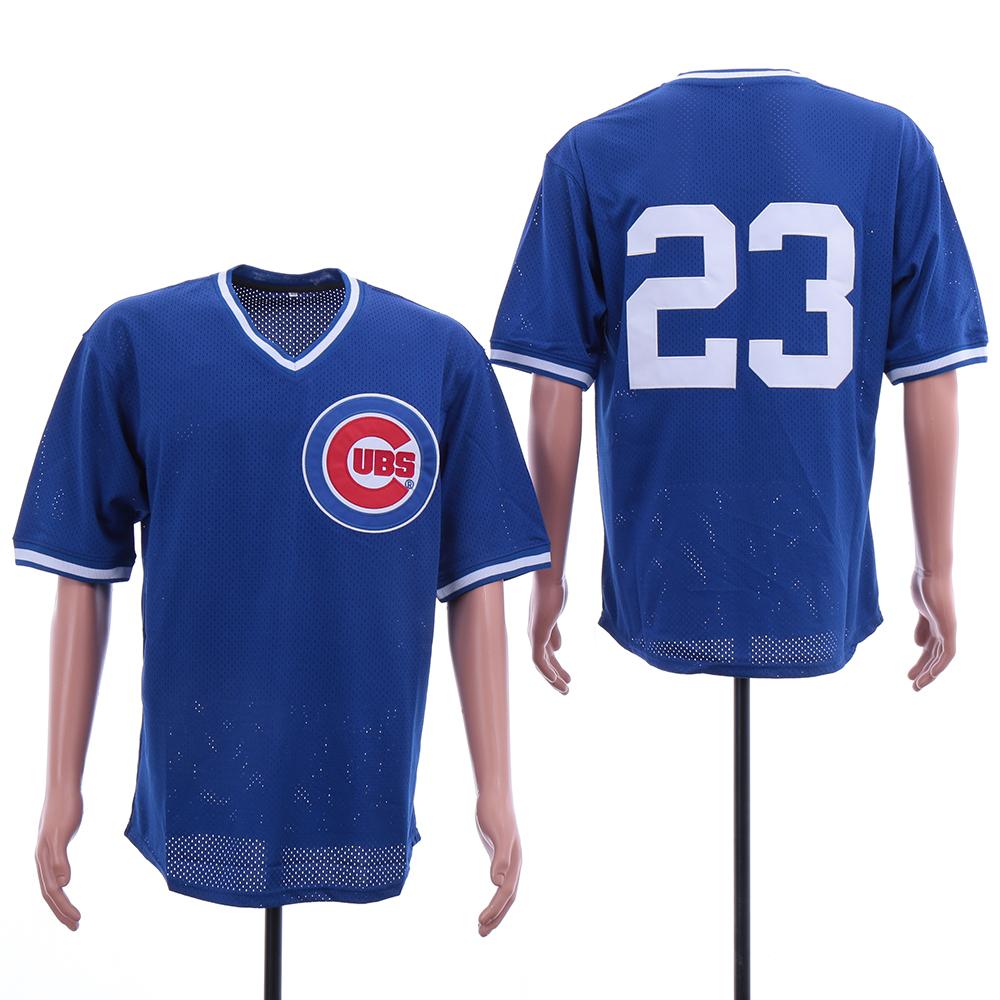 Cubs 23 Ryne Sandberg Blue Mesh BP Jersey