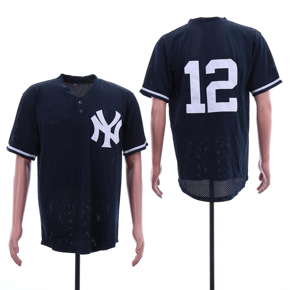 Yankees 12 Wade Boggs Navy Mesh BP Jersey