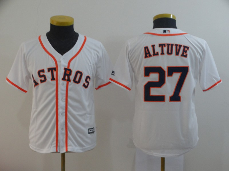 Astros 27 Jose Altuve White Youth Cool Base Jersey