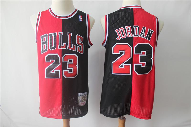 Bulls 23 Michael Jordan Black Red Split 1996-97 Hardwood Classics Jersey