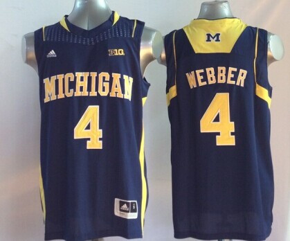 Michigan Wolverines 4 Chris Webber Navy College Basketball Jersey