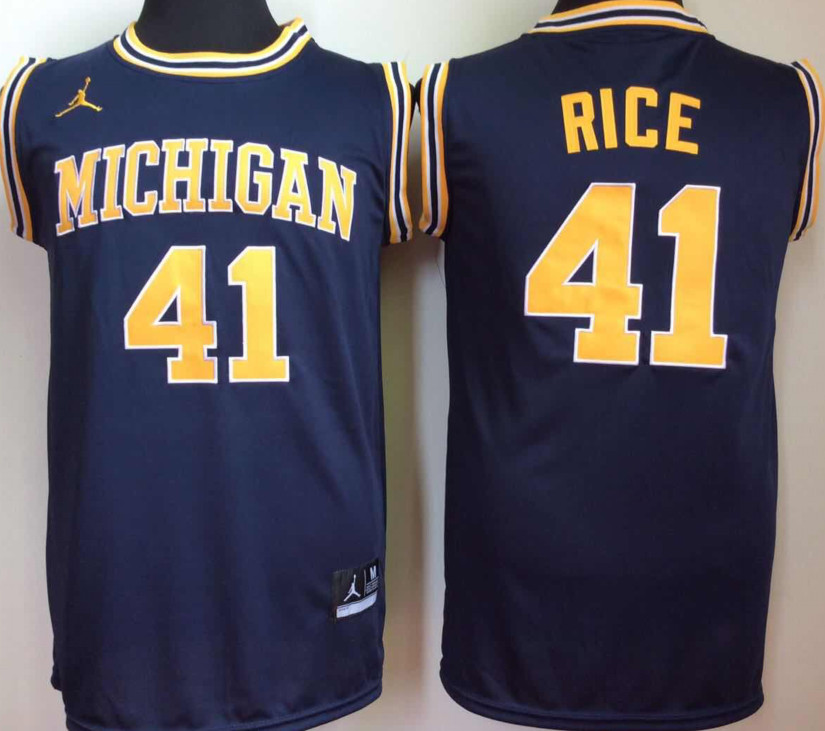 Michigan Wolverines 41 Glen Rice Navy College Basketball Jersey