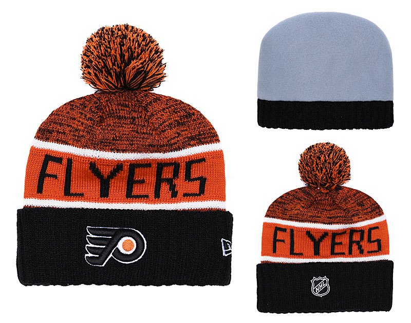 Flyers Fresh Logo Black Yellow Pom Knit Hat YD