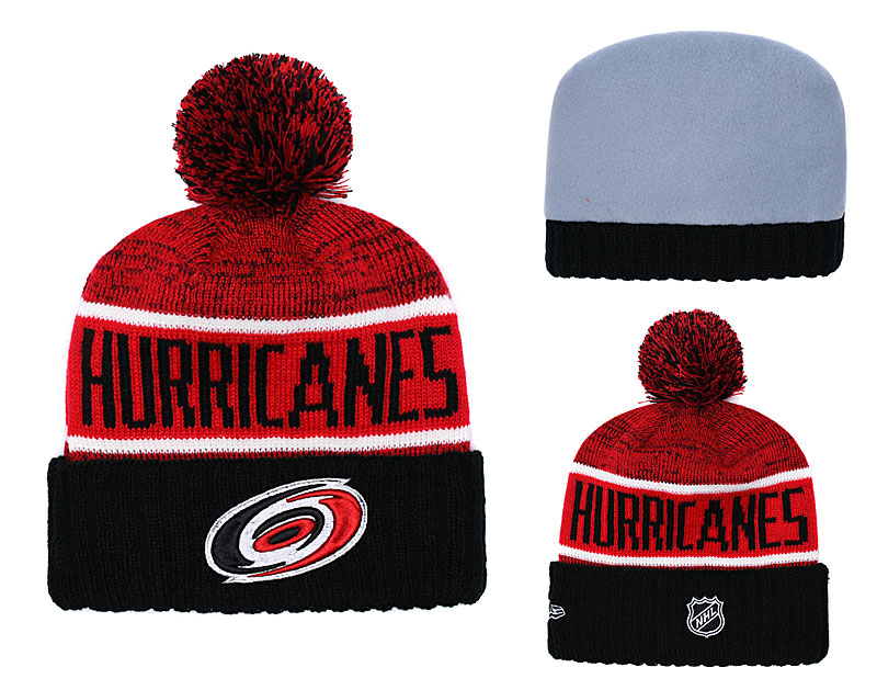 Hurricanes Fresh Logo Red Black Pom Knit Hat YD