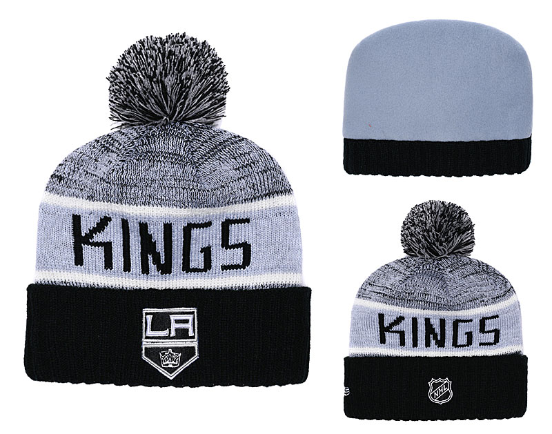 Los Angeles Kings Fresh Logo Black Gray Pom Knit Hat YD