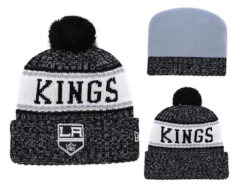 Los Angeles Kings Fresh Logo Black With Pom Knit Hat YD