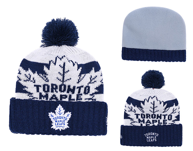 Maple Leafs Fresh Logo Blue Pom Knit Hat YD