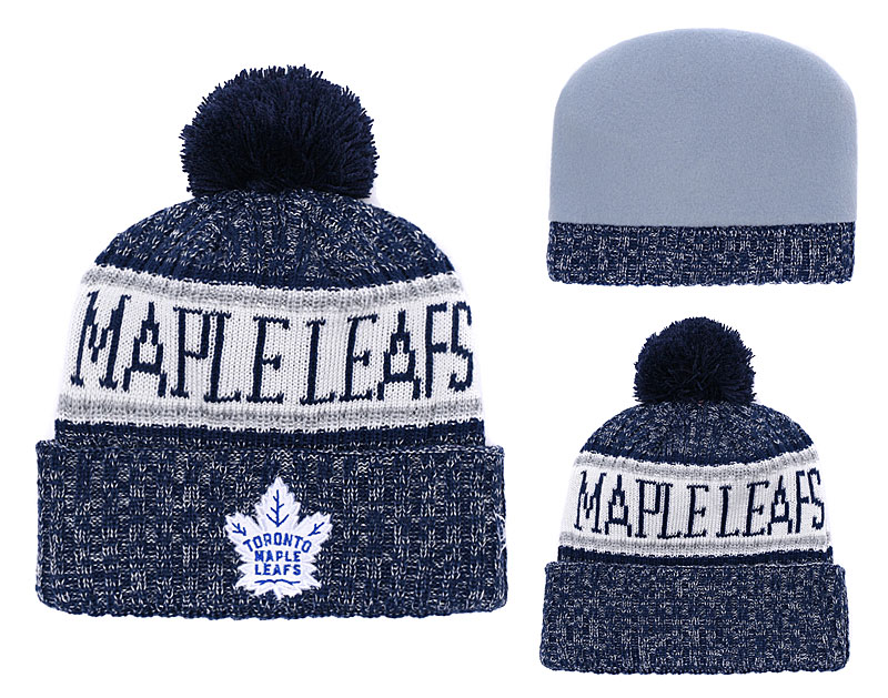 Maple Leafs Team Logo Navy White Pom Knit Hat YD