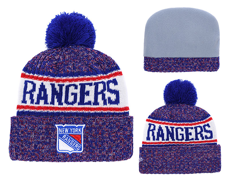 New York Rangers Fresh Logo Royal Red Pom Knit Hat YD
