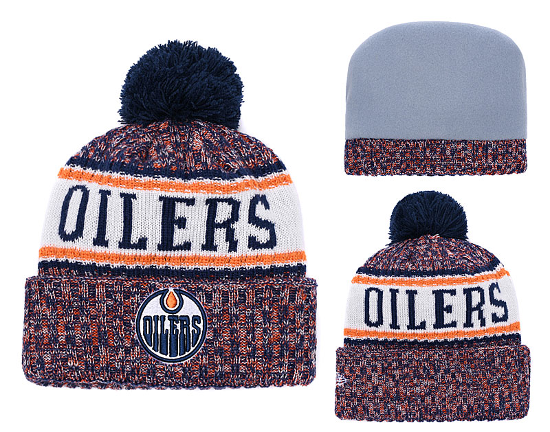 Oilers Fresh Logo Yellow Pom Knit Hat YD