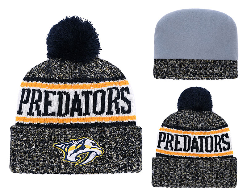 Predators Fresh Logo Black Yellow Pom Knit Hat YD