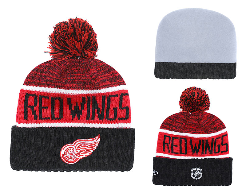 Red Wings Fresh Logo Black Red Pom Knit Hat YD