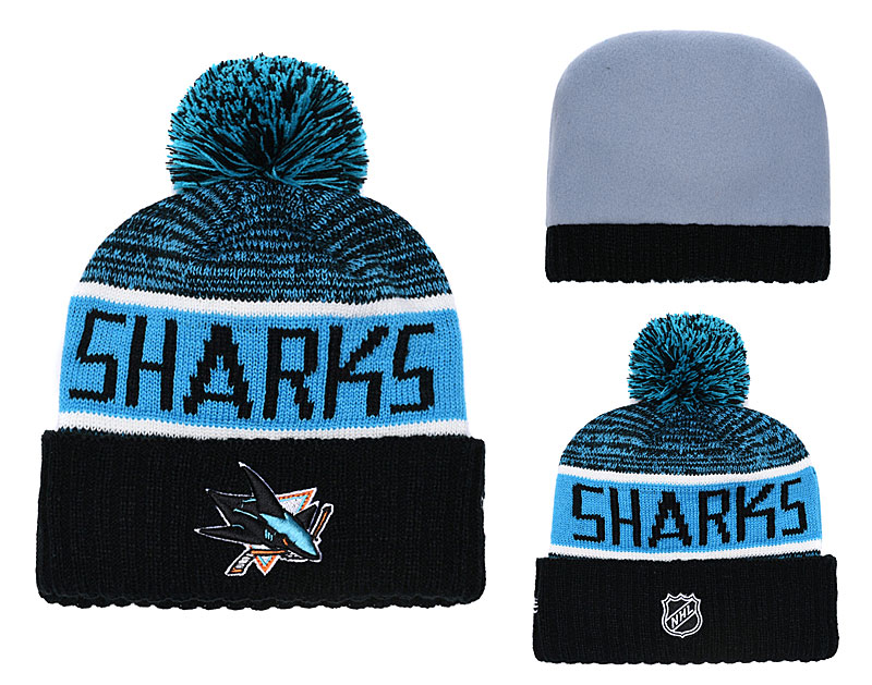 Sharks Fresh Logo Teal Black Pom Knit Hat YD