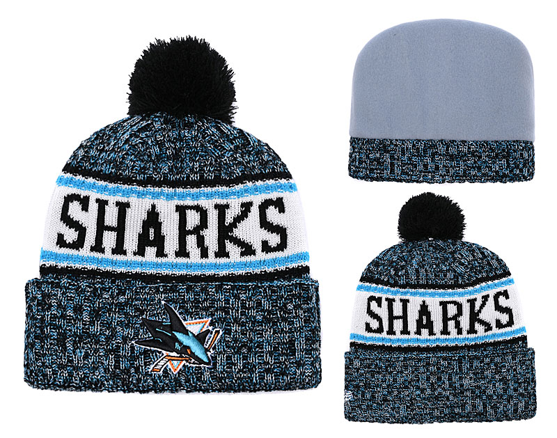 Sharks Team Logo Cuffed Knit Hat With Pom YD