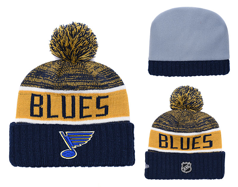 St. Louis Blues Fresh Logo Navy Yellow Pom Knit Hat YD