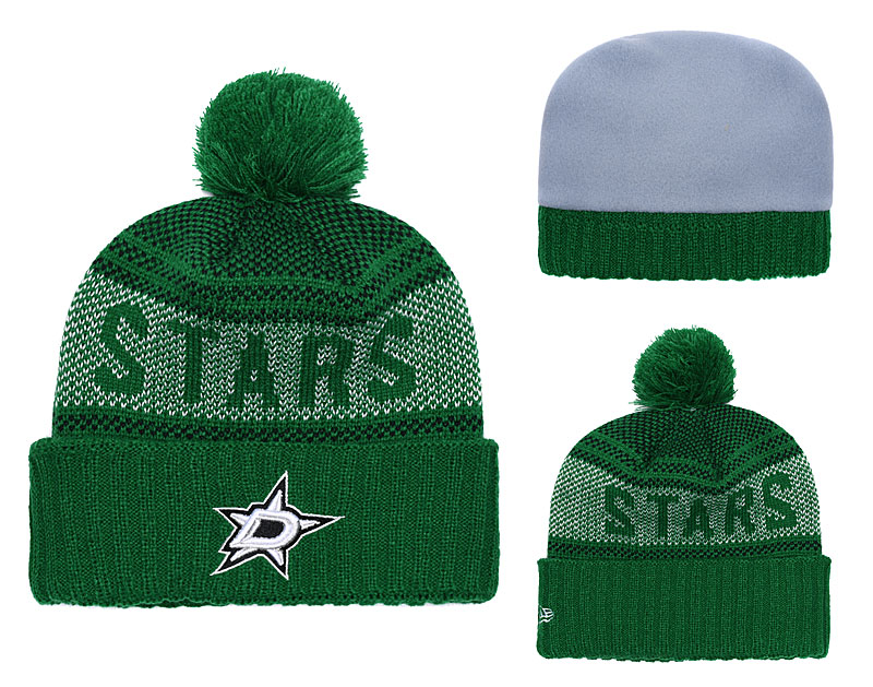 Stars Fresh Logo Green Pom Knit Hat YD