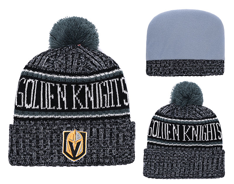 Vegas Golden Knights Fresh Logo Black Pom Knit Hat YD