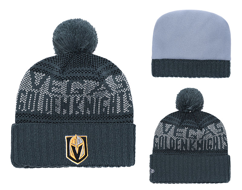 Vegas Golden Knights Fresh Logo Gray Pom Knit Hat YD