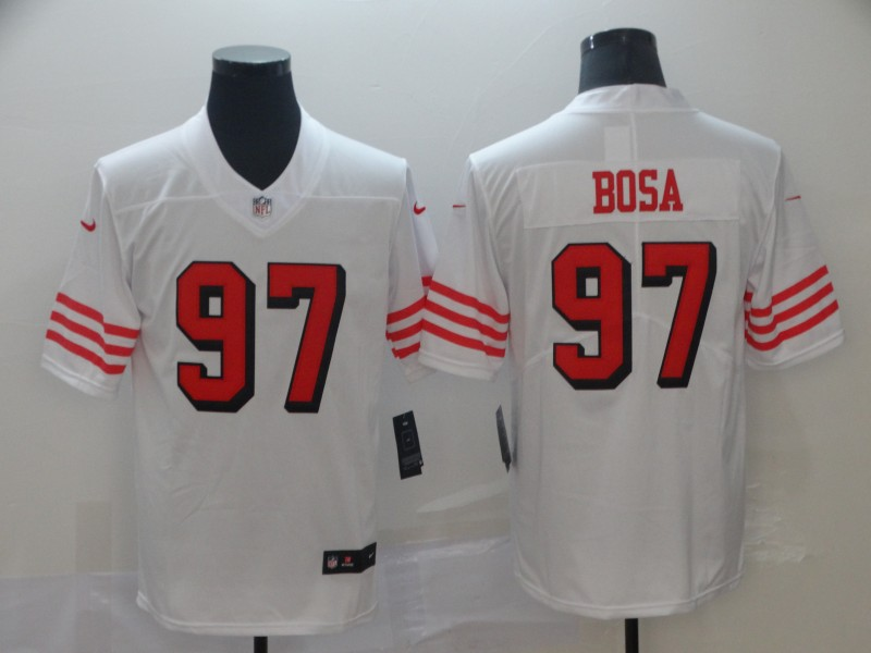 Nike 49ers 97 Nick Bosa White 2019 NFL Draft First Round Pick Color Rush Vapor Untouchable Limited Jersey
