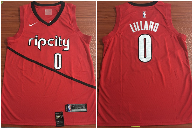 Blazers 0 Damian Lillard Red Earned Edition Nike Swingman Jersey