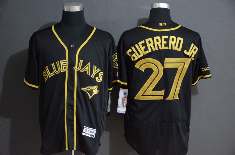 Blue Jays 27 Vladimir Guerrero Jr. Black Gold Flexbase Jersey