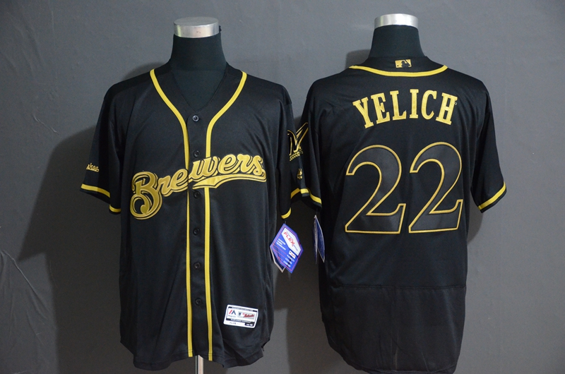 Brewers 22 Christian Yelich Black Gold Flexbase Jersey